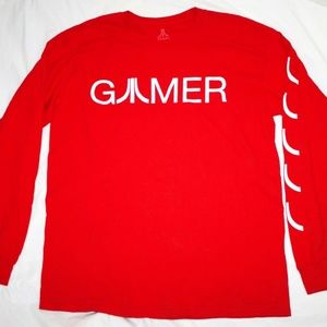 Atari Long Sleeve T-Shirt Gamer Logo Red Tee Size